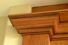 Precision Miter on cherry crown molding, Idaho Falls, ID>